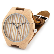 Reloj de madera hecho a mano de bambú con la correa de cuero