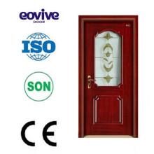 MDF interior PVC wooden door with glass