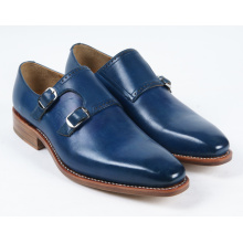 Dark Blue Genuine Leather Flat Mens Business Shoes (NX 432)