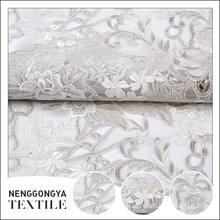 Made in China mesh polyester floral embroidery tulle fabric wedding