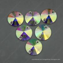 Ab Color Round Sew en Stones Beads con dos agujeros