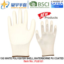 13G Blanco Poliéster Shell Waterborne PU guantes revestidos (PU8101) con CE, En388, En420 Guantes de trabajo