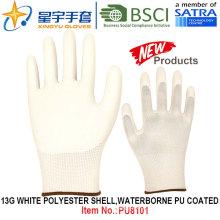 13G Белый полиэстер Shell Водонепроницаемый PU покрытием перчатки (PU8101) с CE, En388, En420 рабочих перчаток