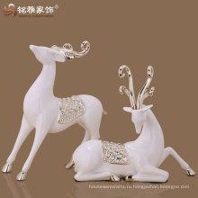2016 новый дизайн корабля смолаы пара оленей скульптура для Ново брачных декор