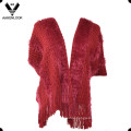 Mulheres Long Feather Soft Knit Shawl com mangas curtas