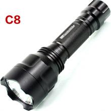 Outdoor LED C8 Long Distance Light Range Tactical Flashlight Prix d'usine étanche