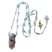 Fashion Long Green Crochet Precious Stone Pendant Necklace