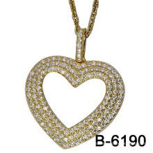 Nuevo colgante de la plata esterlina de la galjanoplastia del oro del diseño 925 con Zircon (B-6190)