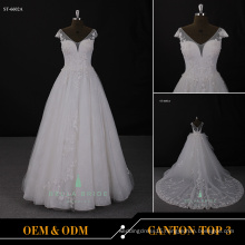 Alibaba Wholesale V neckline wedding dress cap sleeve wedding dress for bridal