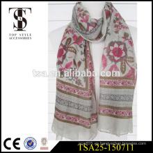 Precio de fábrica bufandas de seda de la seda floral rosada de la bufanda 100% del poliester de largo 100%