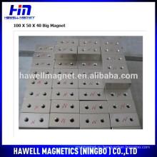 N52 сильные магниты блока с двумя отверстиями с потайной головкой