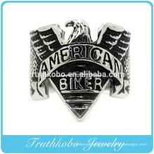 2016 Native popular custom mens black enamel american biker rings in 316l stainless steel