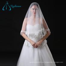 Lace Appliques Tulle corto vestido de novia de la boda velo