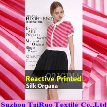 Organza de seda impressa de 16mm Digitas para a tela do vestuário