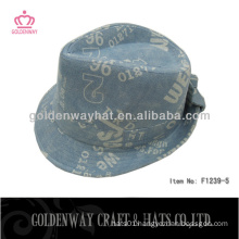 lettering fedora hats with bowknot cotton winter warm hat for men