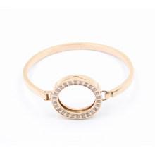 Bracelet en acier inoxydable ovale rose orné de mode de design le plus récent