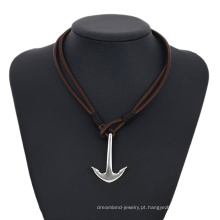 Colar-00265 XP moda jóias de aço inoxidável de couro simples design âncora colar para homens