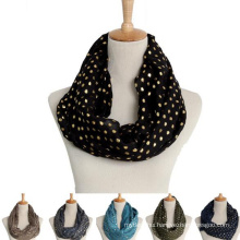 China wholesale round dot gold stamp fashion circle round scarf cotton loops scarf