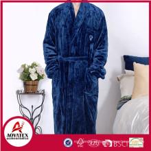 cheap soft solid flannel fleece men bathrobe sleepwear