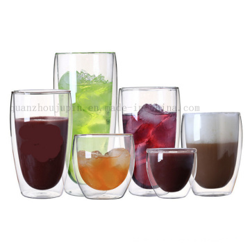 OEM Logo Double Wall Thermal Insulation Coffee Glass Cup