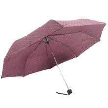 3fold back sun protection dot red polyester manual open umbrella