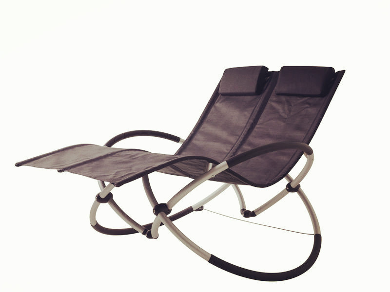 Foldable alu double-seat rocking chair