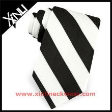 Silk Woven Mens Tie Black and White Stripe