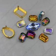 Cristal Piedras sueltas Forma Octagon Withgolden Claw Configuración