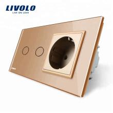 Livolo 16A Стандарт ЕС настенная розетка с сенсорным выключателем VL-C702-13 / VL-C7C1EU-13