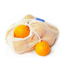 Eco organic cotton grocery mesh drawstring shopping bag for fruits and vegetables