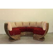 Exklusives Hot Trendy Design Wasser Hyazinthe Runde Sofa Set Für Indoor Wohnzimmer Natürliche Korbmöbel