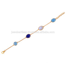 18K Gold Plated Silver Bracelet With Blue Onyx, Lapis and Rainbow