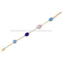 18k позолоченный Серебряный браслет с синий Оникс, Лазурит и Радуга