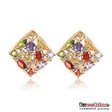 Boucles d'oreille multicolores en zircon plaqué or plaqué or (ER0135-C)