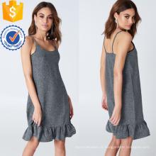 Babado babados spaghetti strap prata mini vestido de verão manufatura grosso moda feminina vestuário (t0313d)