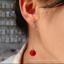 Korean Star with Simple Sweet Silver Pearl Earrings CZ