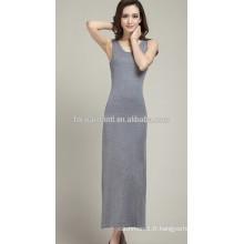 2014 nouvelles femmes Autum Hot-vente O-cou sans manches en cachemire robe longue