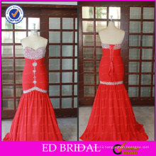 ED Bridal Elegant Real Pictures Red Chiffon Sweetheart Beaded Lace Up Long Mermaid Prom Dress 2017