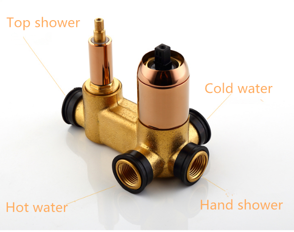 Three ways concealed wall mouned valves
