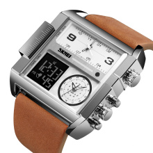 Silver digital wrist watches genuine leather reloj hombre large square dial custom watch bezel