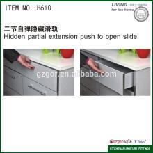 two-section hidden soft closing rebound slide for kitchen hardware