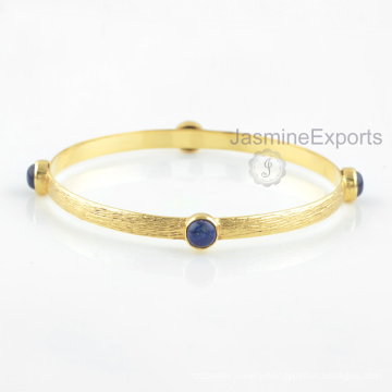 18k Gold Blue Lapis Bangle, Wholesale Supplier For Gemstone Bangles Jewelry For Women