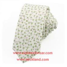 Corbata floral china impresa algodón