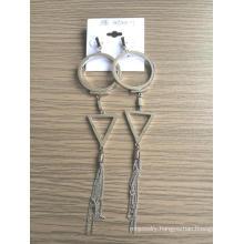 Big Earrings with Metal Tassel Fashion