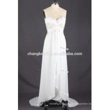 Lace detallada blusa sin tirantes con volantes Long Beach vestido de novia