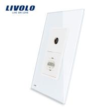 Livolo США HDMI и ТВ Розетка с белой жемчужиной хрустальное стекло розетка 220 В VL-C591VHD-11