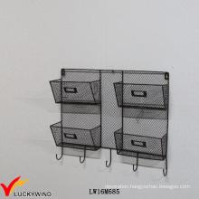 Decorative Black Wall Metal Vintage Wire Shelf