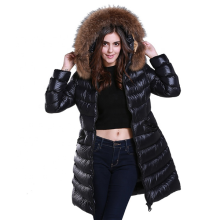 Hood Knee Length Plus Size Puffer Down Jacket