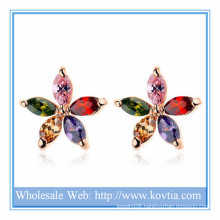 2014 Alibaba hot sale fashion jewelry copper and colorful AAA zircon stud flower earring for girls gift
