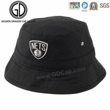 New Fashion Black Cool Cotton Bucket Hat with Embroidery Logo